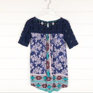 Anthropologie Colorful Lace Tunic Floral Top Small
